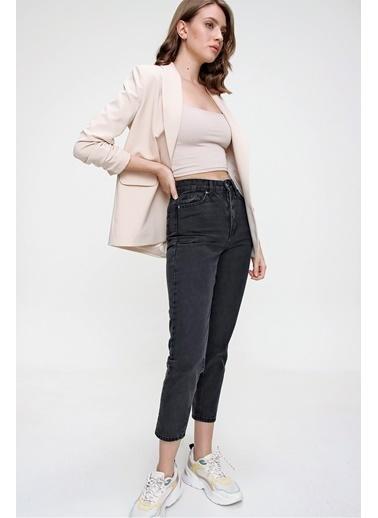 Butikburuç Kadın Füme Yüksek Bel Kot Pantolon Füme